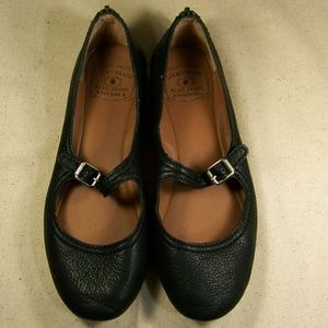 Lucky Brand Blue Jeans America Black Leather Flats